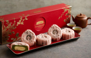 Tangerine Lemon with Matcha Red Bean Paste Snow Skin Mooncake - Classic Box
